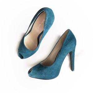 Nine West Teal Blue Suede Peep Toe Pump • 7.5